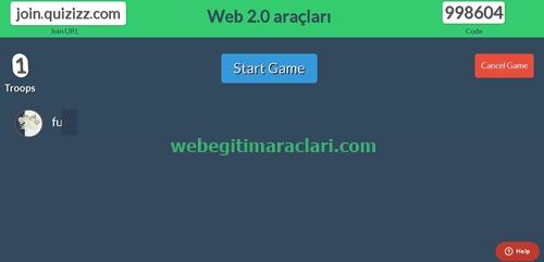 Quizizz Web 2.0 Aracı Quiz Başlatma