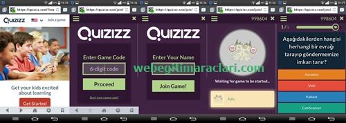 Quizizz Web 2.0 Uygulaması Quiz Başlatma