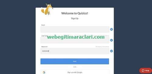 Quizizz Web 2.0 Aracı Kayıt Olma