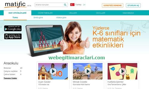 Matific Web 2.0 Uygulaması Anasayfa