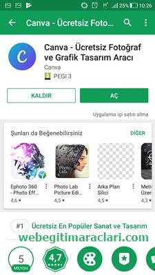 Canva Web 2.0 Mobil Uygulaması Yükleme