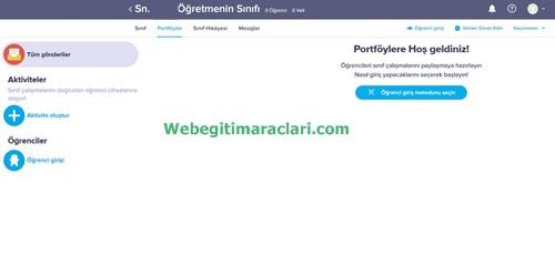 Class Dojo Web 2.0 Uygulaması Portföyler Sayfası