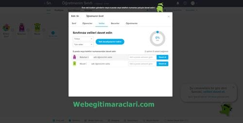 Class Dojo Web 2.0 Uygulaması Veli Davet Etme