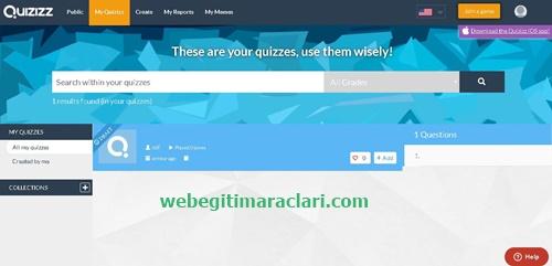 Quizizz Web 2.0 Aracı Kendi Sınavlarım Sayfası