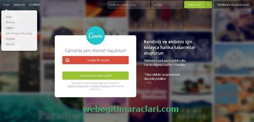 Canva web 2.0 Uygulaması Kayıt Olma