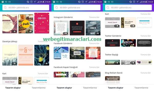 Canva Web 2.0 Mobil Uygulaması Hazır şablonlar