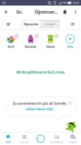 Class Dojo Web 2.0 Uygulaması Mobil Anasayfa