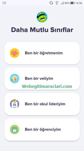 Class Dojo Web 2.0 Uygulaması Mobil Giriş
