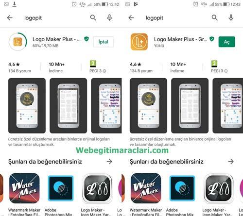 Logopit Maker Plus Web 2.0 Aracının Telefona Yüklenmesi